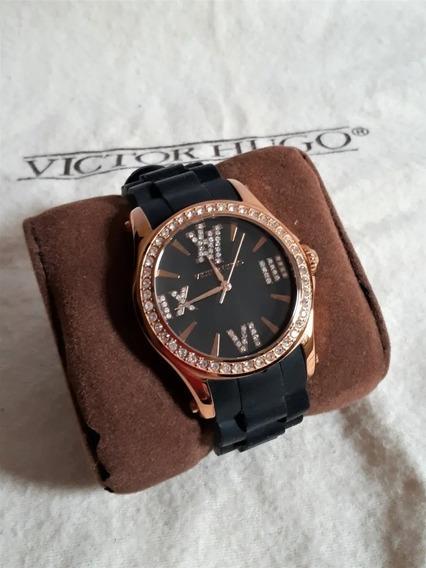 Belíssimo Relógio Victor Hugo Rosê Vh 10040 Com Swarovski