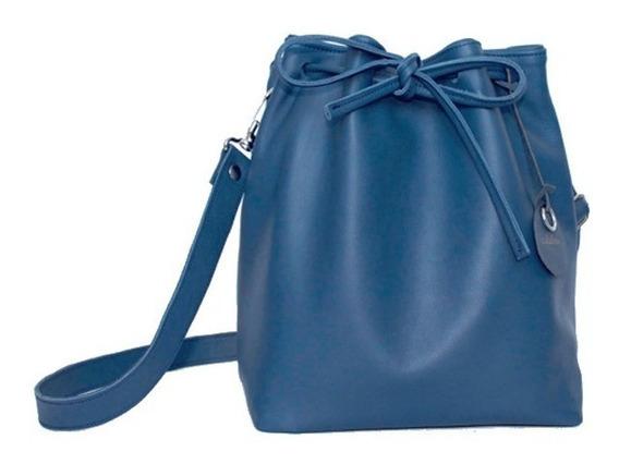 Cartera Bandolera Bucket Cuero Mujer Azul