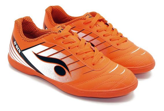 Chuteira Indoor Futsal Laranja E Branco - Dsix