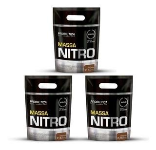3x Massa Nitro No2 2,5kg Probiotica Todos Os Sabores