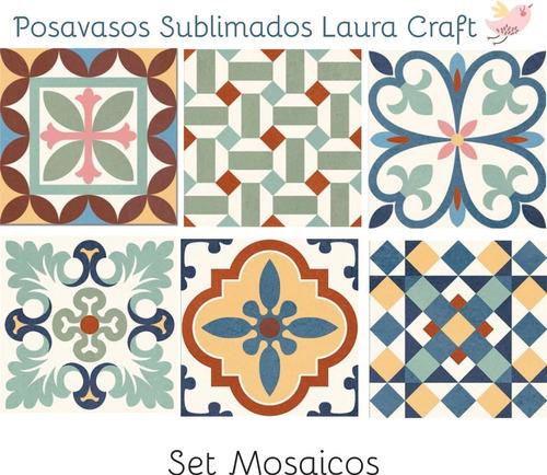 Posavasos Para Sublimar Set Azulejos Calcareosl Laura Craft