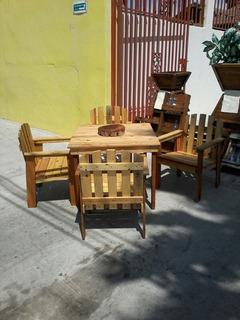 Mesa De Madera Rustica Para Jardin Desmontable C/4 Sillas