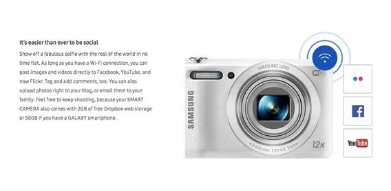 Camera Samsung Wifi Wb35f Wifi Nfc Zoom 24x (12x Optico) Top