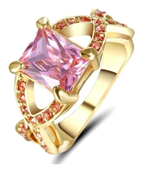 Anel Feminino Rainha Cristal Rosa 3 Banhos Ouro 249 H