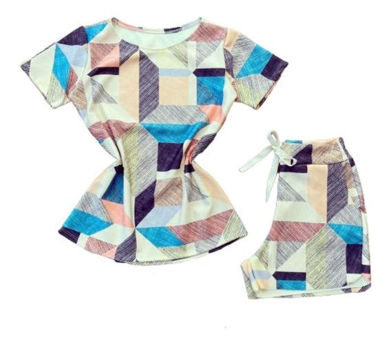 Conjunto Shorts Cintura Alta E Blusa T-shirt Envio Imediato