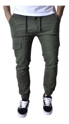 Imagen 1 de 10 de Pantalon Cargo Jogger Verde Negro Hombre The Big Shop