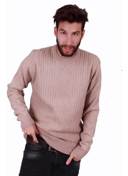 Sweater Con Trencitas Hombre Lana