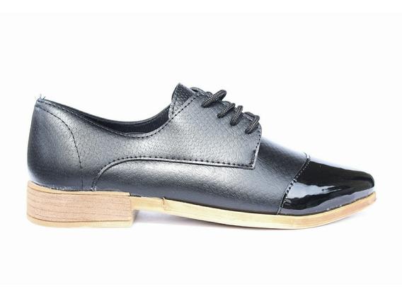 Zapato Mujer Punta Acordonado Negro Charol K256