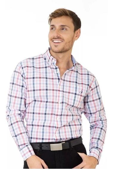 Camisa Casual Long Beach Polo Club Hombre Rosa Algodon Lst16