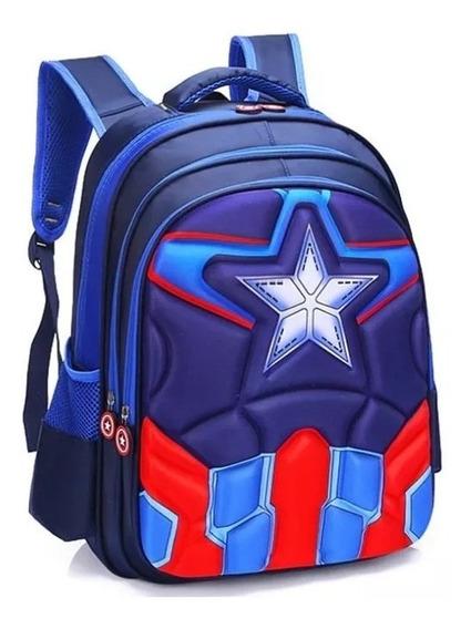 Mochila Bolsa Escolar Infantil Capitão América 3d Lançamento