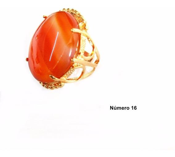 Semi Jóia Anel Dourado N°16 Pedra Natural Cor Laranja