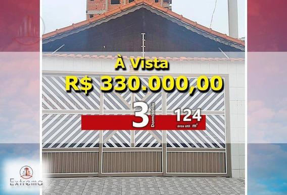 Casa Mobiliada Com 3 Dormitórios E 2 Suítes, 124 M² Por R$ 320.000,00 - Aviação - Praia Grande/sp - Ca0066