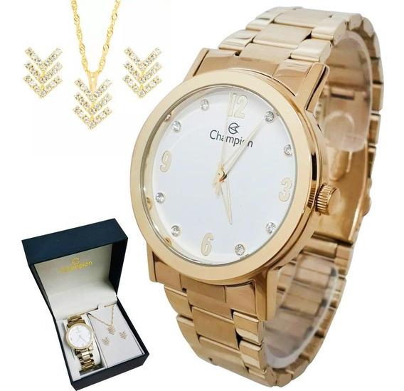 Relógio Champion Feminino Cn29025w Banhado Ouro + Semi Joia