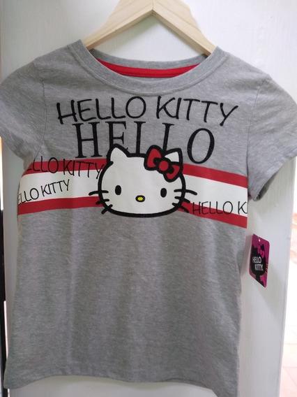 Playera Gris Niña Hello Kitty Original Licencia