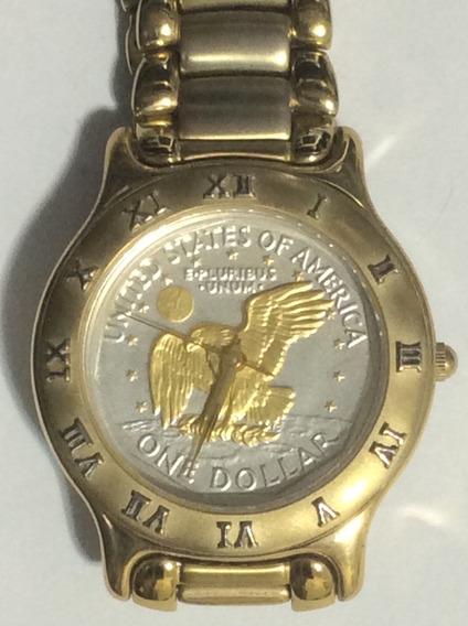 Relógio Coinwatch - E-prulibus Unun -banhado Ouro 18