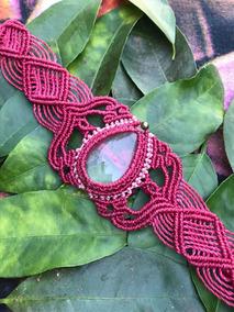 Bracelete Feito A Mao Na Arte Macrame Com Cristal