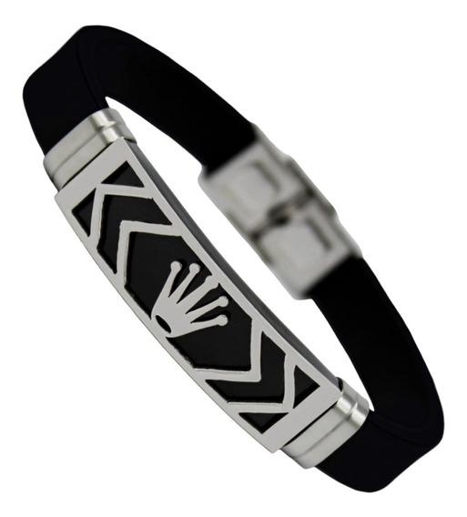 Pulseira Bracelete Masculino Silicone Luxo Coroa Aço Inox