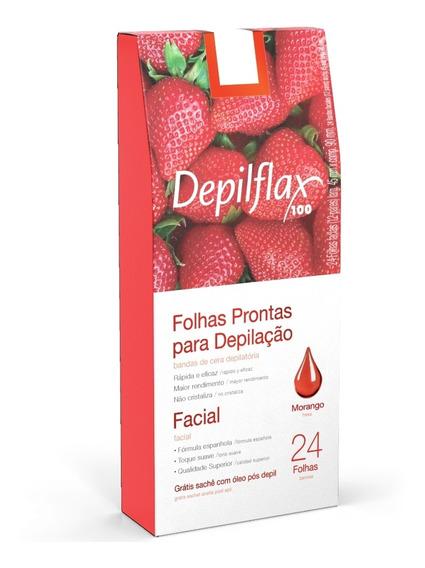 Depilflax Folhas Prontas P/ Depilação Facial Morango C/24