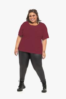 Camiseta Plus Size Wonder Size Básica Malha Bordô