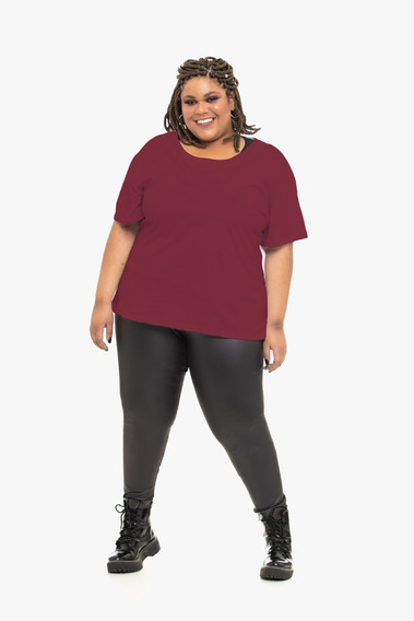 Camiseta Plus Size Wonder Size Básica Malha Bordô