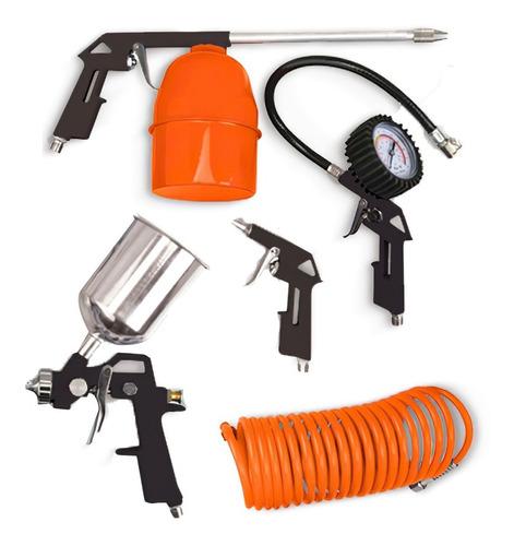 Kit De Aire P Compresor 5 Accesorios Inflador Pistola Pintar