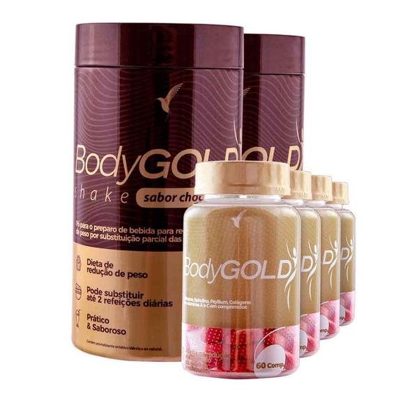 Kit Bodygold Tratamento 2 Meses + 2 Shakes Chocolate 400g