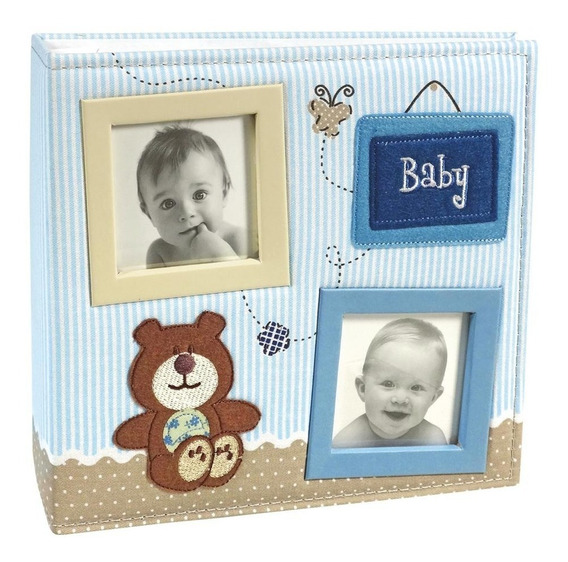 Álbum De Fotos 100 Fotos 15x21 Bebê Tecido Menino 800