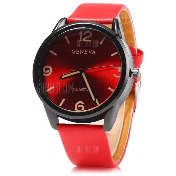 Geneva Relógio De Quartzo Masculino De Pulseira De Couro -