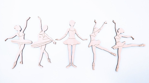Imagen 1 de 8 de Souvenir Aplique Bailarinas Kit X 5 - Mdf / Fibrofacil