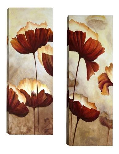 Par De Quadros Tela Para Sala Corredor Floral Marrom 20x60