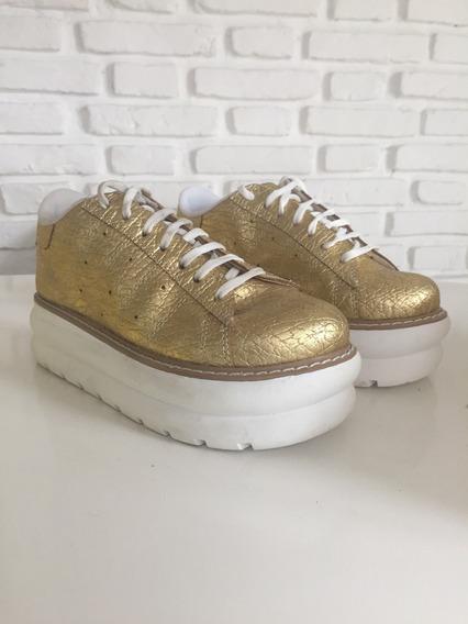 Zapatillas Sneakers Con Plataforma Doradas Último Par 37.
