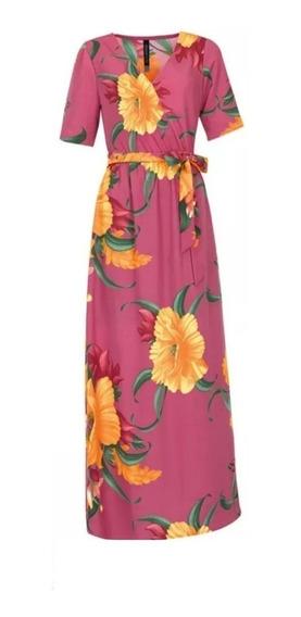 Maxi Vestido Largo Sublimado Print Flor Mexican Amari Rinna