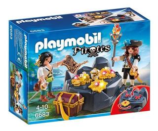 Playmobil Piratas / Escondite Del Tesoro Pirata Playset 6683