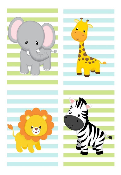Placas Decorativa Infantil Zoo Safari