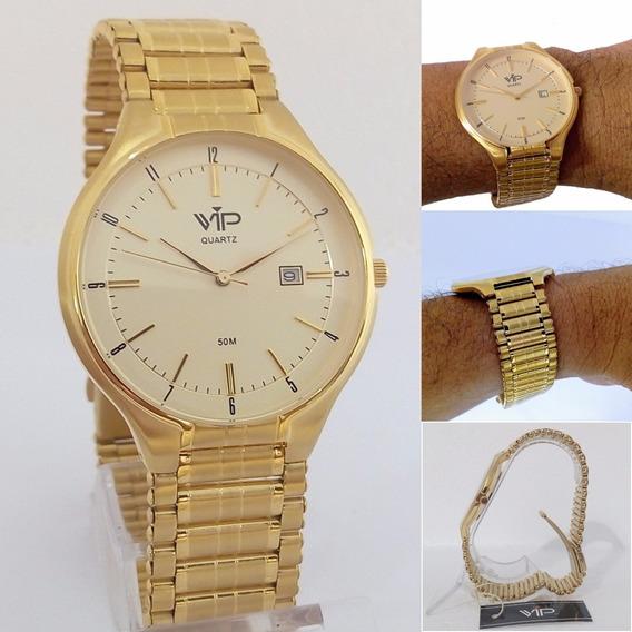 Relógio Masculino Vip Quartz Mh303 Dourado Original 12x S/j