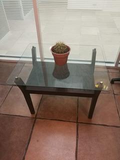 Mesita Para Sala De Madera Con Vidrio