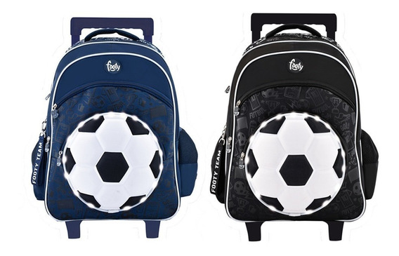 Mochila Carro Footy 18 Pulg F1111 Futbol Led - Azul
