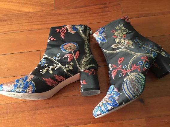 Botas De Zara Estampa Oriental N 36-como Nuevas!!!