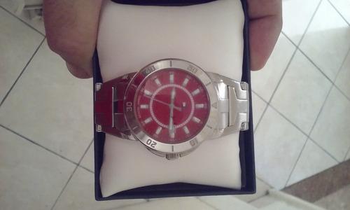 Relógio Tommy Hilfiger Masculino Aço Inox Mostrador Vermelho