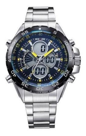 Relógio Masculino Weide Anadigi Wh-1103 Amarelo E Preto