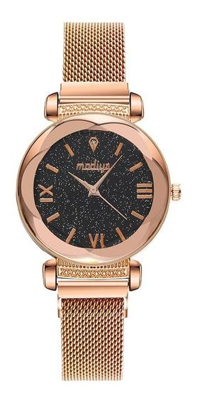 Relógio Feminino Céu Estrelado Pulseira Magnética