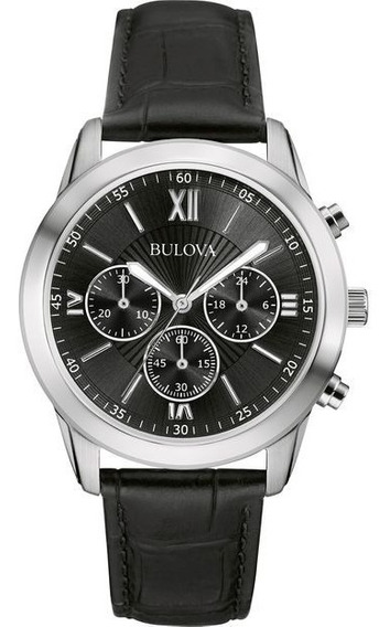 Relógio Bulova Masculino Couro Preto Cronógrafo Wb22382t