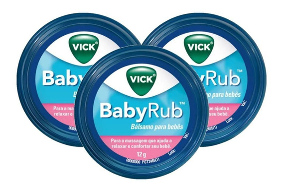 Kit 3 Pomada Vick Baby Rub Calmante Para Bebês 12g