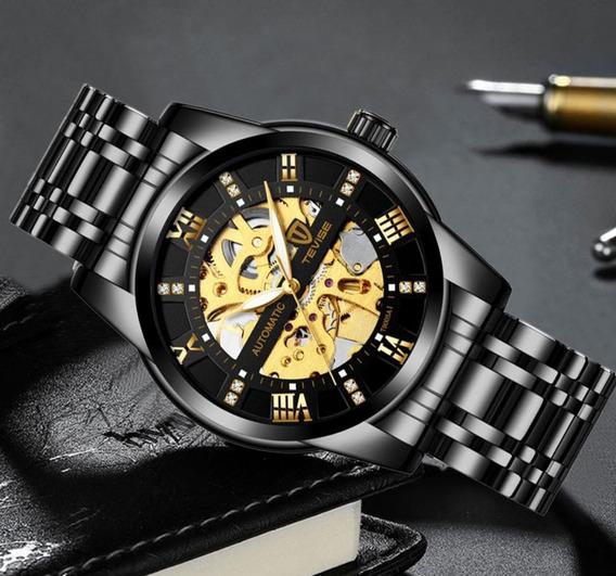 Relógio Tevise Automático Mecânico Inox T9005 Original Preto