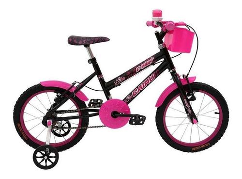 Imagem 1 de 1 de Bicicleta  infantil Cairu C-High aro 16 freios v-brakes cor preto/rosa com rodas de treinamento