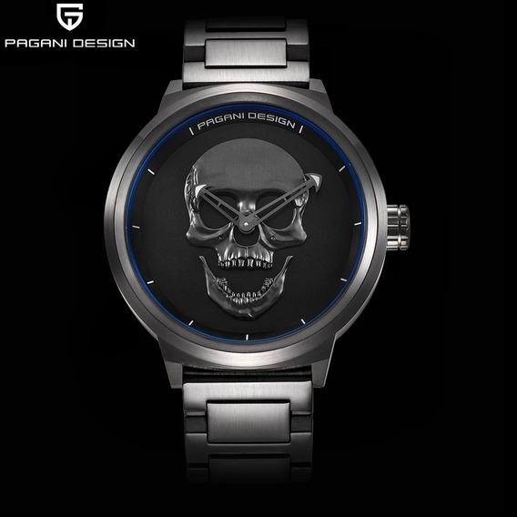 Relógio Pagani Desing Crânio 3d Preto