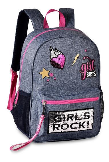 Mochila Juvenil Clio Estilo Jeans Girls Rock Paetê