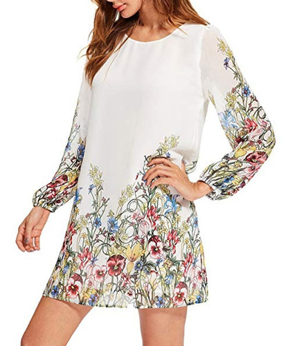 Vestido Talla S De Fiesta De Gasa Blanco Floral Importado