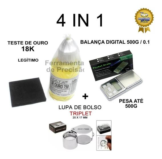 Kit Teste Ouro - Pedra Peq + Ácido 18k + Balança 500g + Lupa