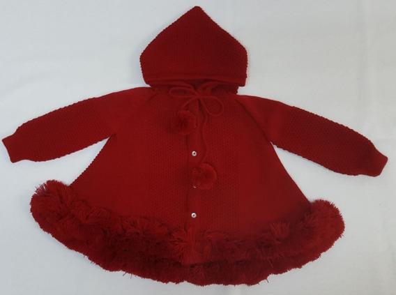 Casaco (trapézio) Para Bebê Vermelho Com Capuz Tricot